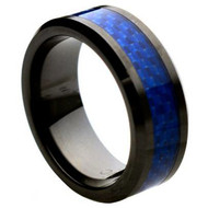 Ceramic Ring With Blue Carbon Fiber Inlay