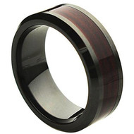 Ceramic Ring With Burgundy Wood Inlay