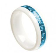 "White Ceramic Ring With ""Aquamarine Carbon Fiber Inlay"""