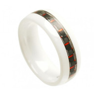 "White Ceramic Ring With ""Black & Red Carbon Fiber Inlay"""