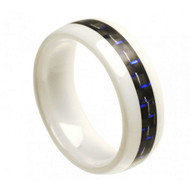 "White Ceramic Ring With ""Blue & Black Carbon Fiber Inlay"""
