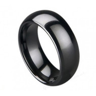Black Ceramic Domed Ring High Polished