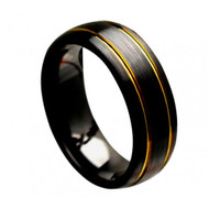 "Black Ceramic Brushed Domed With ""2 Yellow Gold Plated Grooves"""