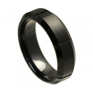 "Black Ceramic Beveled Edge Multiple Grooved ""Brushed Finish"""