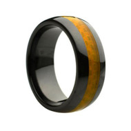 Ceramic Ring With Yellow Carbon Fiber Inlay