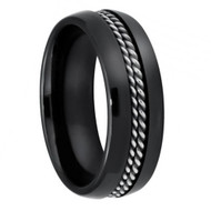 Domed Black Ceramic Ring with Double Rope Stainless Steel Inlay