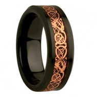 Flat Black with Rose Gold Plated Celtic Dragon Design
