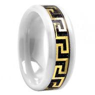 White Ceramic Gold Tone Greek Key Over Black Carbon Fiber Inlay