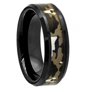Flat Black Ceramic High Polish with Commando Camo Inlay Beveled