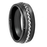 Domed Black Ceramic Ring with Braided Stainless Steel Inlay