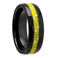 Domed Black Ceramic with Green Bamboo Tone Carbon Fiber Inlay
