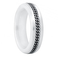 Domed White Ceramic Ring with Double Rope Stainless Steel Inlay