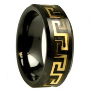 Black Ceramic Gold Plated Greek Key Black Carbon Fiber Inlay