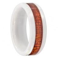 White Ceramic Ring with Hawaiian Koa Wood Inlay; Faceted Edge
