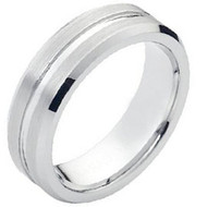 Cobalt Chrome Wedding Band Ring Matte Brushed Grooved center