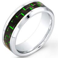 "Cobalt Chrome Ring With ""Green Carbon"" Fiber Inlay"