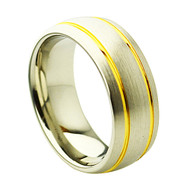 Cobalt Chrome Wedding Yellow Gold Band Ring