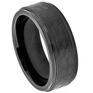 Cobalt Ring Black Enamel Plated Stepped Edge Hammered Center