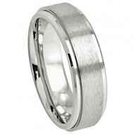 Cobalt Ring Brushed Center High Polished Stepped Edge