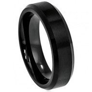 "Cobalt Ring ""Black Enamel Plated Brushed Center"""