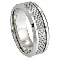 Cobalt Ring Grey Carbon Fiber Inlay Low Beveled Edge