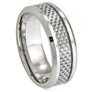 Cobalt Ring Grey Carbon Fiber Inlay Low Beveled Edge