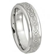 Cobalt Ring Laser Engraved Celtic Design