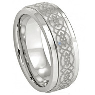 Cobalt Ring Stepped Edge Laser Engraved Celtic Design