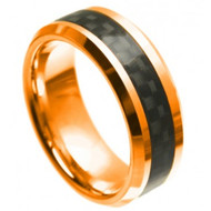 Cobalt Ring High Polish Rose Gold Plated with Black Carbon Fiber