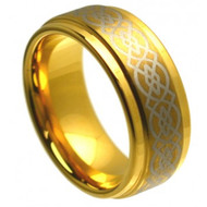 "Cobalt Ring ""Gold Plated"" Laser Engraved Celtic Knot Pattern"