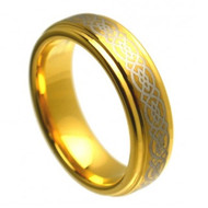 Cobalt Ring Gold Plated Laser Engraved Celtic Knot Pattern