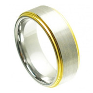 "Cobalt Ring ""Yellow Gold Plated"" Shiny Edge & Brushed Center"