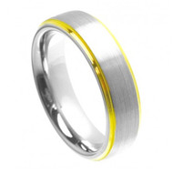Cobalt Ring Yellow Gold Plated Shiny Edge & Brushed Center