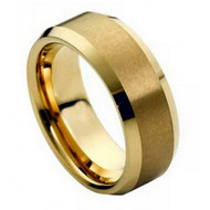 Cobalt Ring Brush Gold Plated Center & Shiny Beveled Edge
