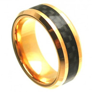 Cobalt Ring Gold Plated with Black Carbon Fiber Inlay