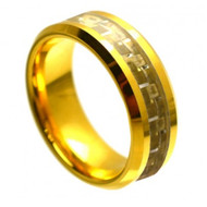 Cobalt Ring  Gold Plated with Golden Carbon Fiber Inlay