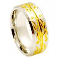 Cobalt Ring Gold Plated Carved Flourish Design