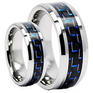 His & hers Tungsten Set with Blue Carbon