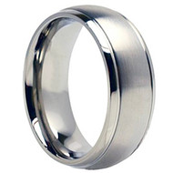 Titanium Wedding Band Ring Brsuhed Center finished
