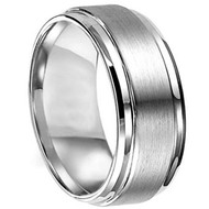 Titanium Wedding Band Ring flat center section