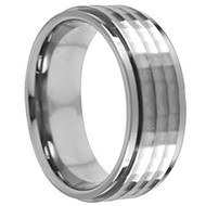 Titanium Wedding Band Ring flat Hammered center section