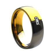 Titanium Gold Wedding Band Ring Two-tone with Emerald-cut Cubic Zirconia