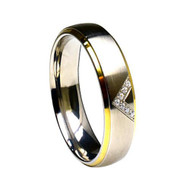 Titanium Gold Wedding Band Ring