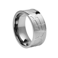 Titanium Wedding Band Ring with 10 Round-cut Cubic Zirconia