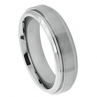 "Titatnium Ring ""Raised Brushed Center Stepped Edge"""