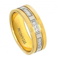Titanium Yellow Gold Plated with 24 Cubic Zirconia