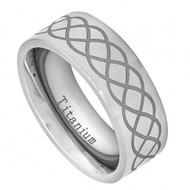 Titanium Ring with Laser Engraved Infinity Design