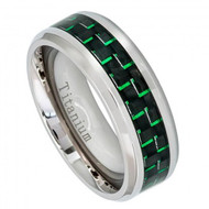 Titanium Ring with Green Carbon Fiber Inlay Beveled Edge