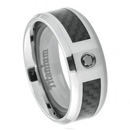 Titanium Ring Black Carbon Fiber Inlay w/ Diamond center stone
