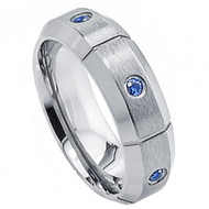 Titanium Ring with Six  Blue Sapphires  Multiple Vertical Groove